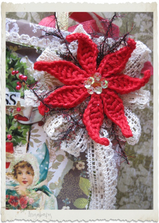 Red crochet poinsettia flower