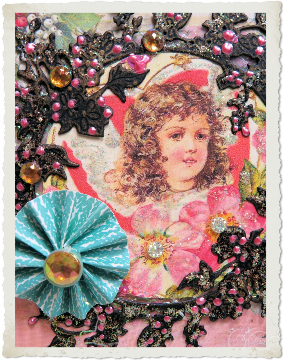 Pink vintage Christmas art by Ingeborg van Zuiden