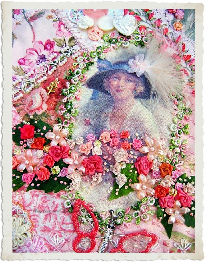 pink vintage style crazy quilt by Ingeborg van Zuiden