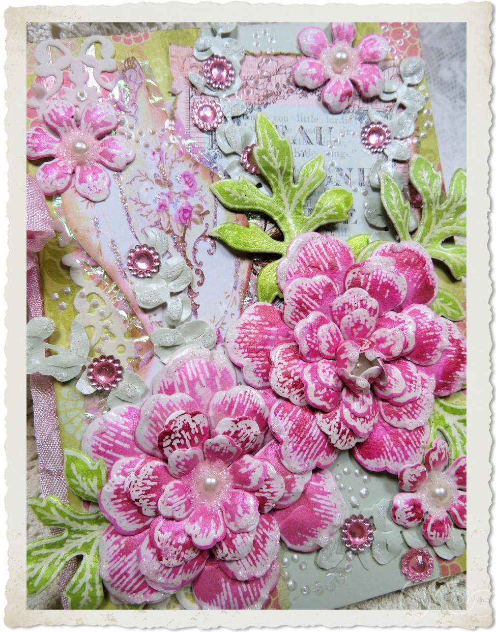 Handmade pink paper roses by Ingeborg