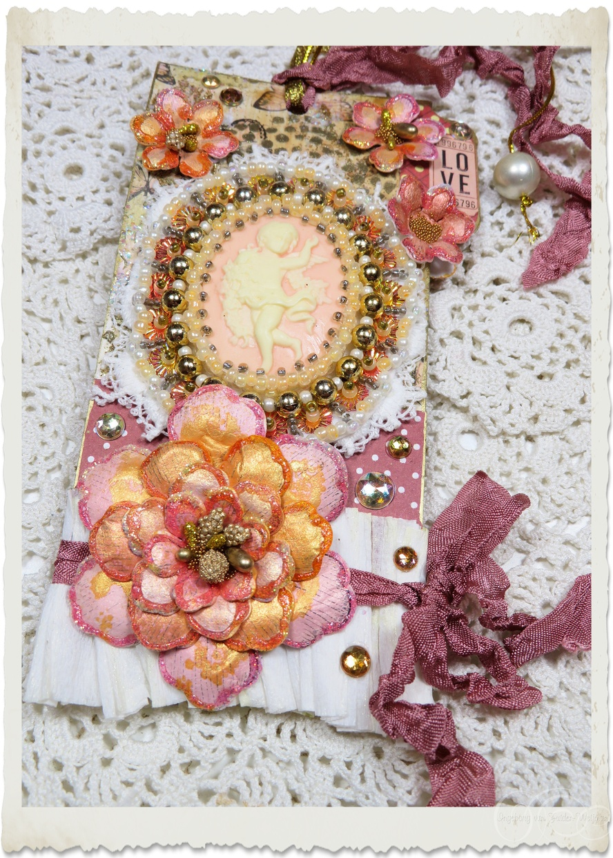 Handmade mixed media angel tag/hanger with peach paper flowers and ribbons