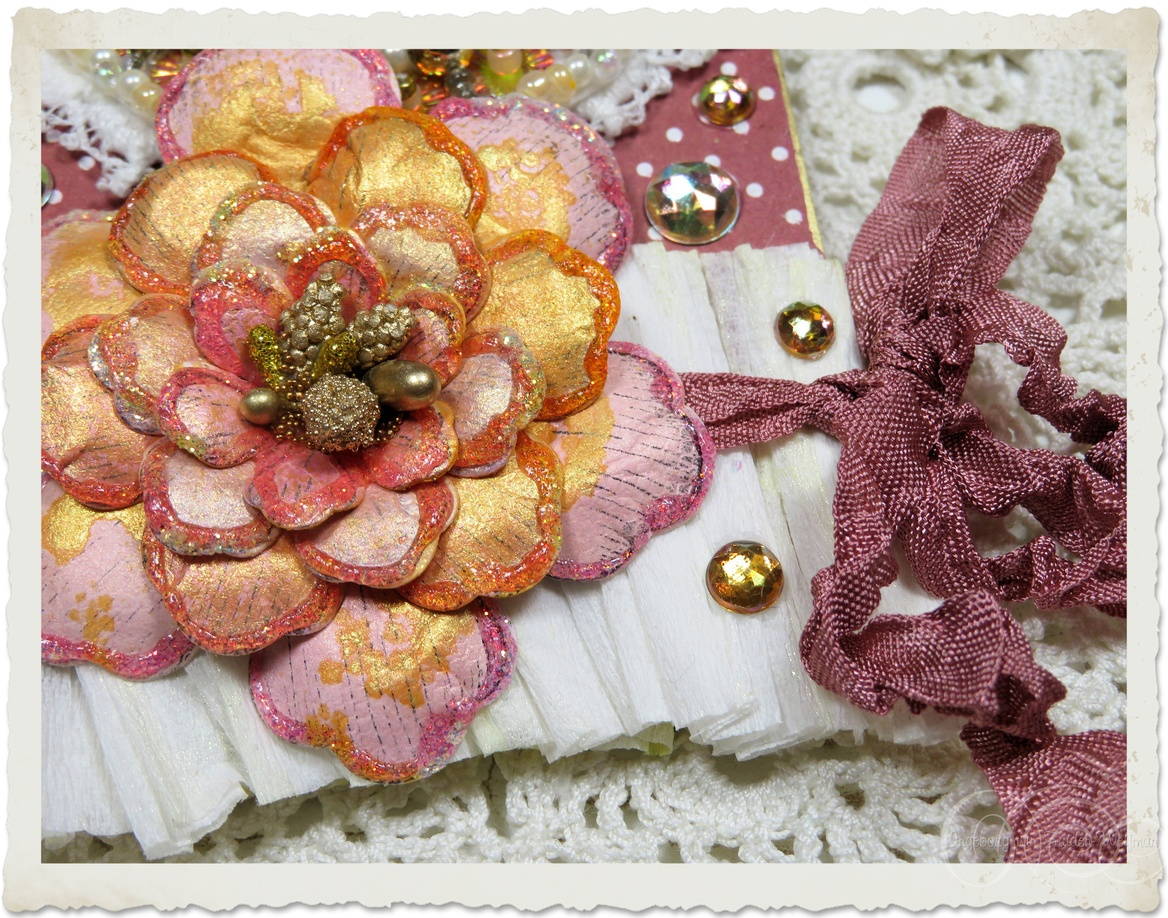 Details of ribbon and paper flower