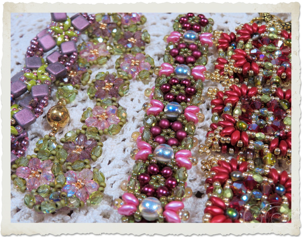 Handmade beadweaving bracelets with superduo and czech crystals
