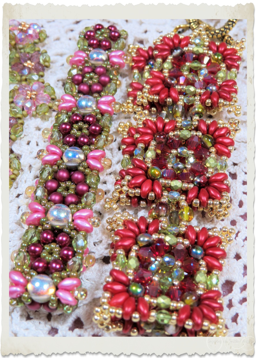Handmade bead weaving bracelets in pink red green and gold with Superduo, Miyuki seed beads, cabochon beads, Czech crystals and bicone beads