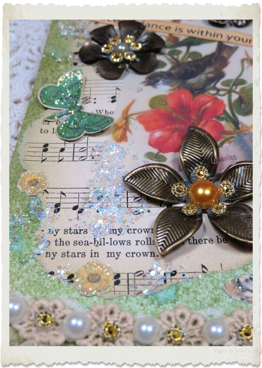 Details of glitter splashes and flowers