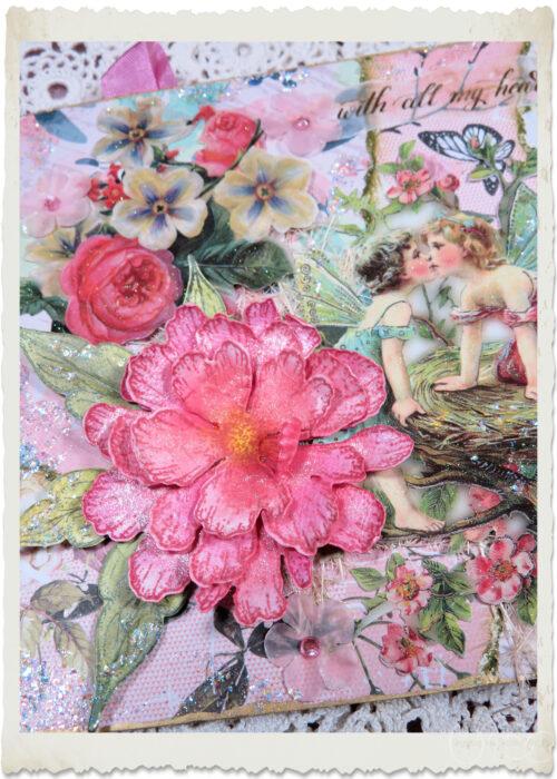 Heartfelt Creations peony flower on angels card by Ingeborg van Zuiden